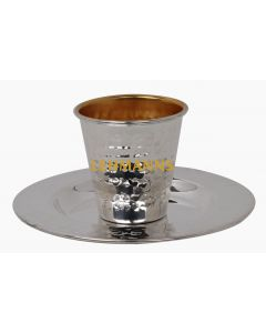 Kiddush Cup and Tray -Silver Coated- Hammered Metal- Small 90 ml