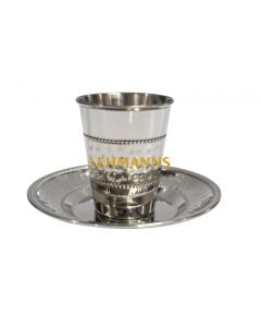 Kiddush Cup and Tray - Hammered Stainless Steel-Dotted Design140ml