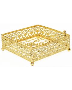 Napkin Holder Flat Gold Plated With Weighted Arm Wire style