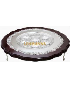 Seder Plate-Mahogany & Silver Plated