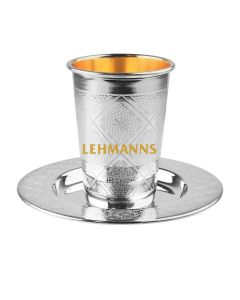 Kiddush Cup and Tray-Silver Coated - Diamond Decoration 165ml