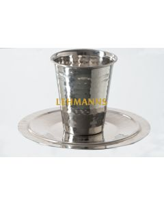 Kiddush Cup with Tray- Hammered Stainless Steel