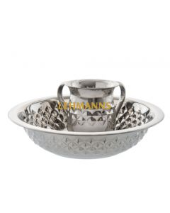 Washing Cup and Bowl Set- Stainless Steel-Diamond Pattern