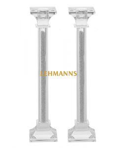 Candlesticks- Crystal & Stone 25.4cm