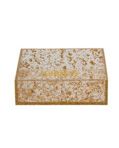 Napkin Holder-Acrylic-Gold Flakes Decoration