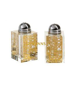 Salt and Pepper Shakers-Crystal- Jerusalem Design -Gold