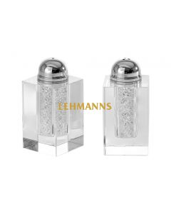 Salt and Pepper Shakers -Crystal With Crushed Stones
