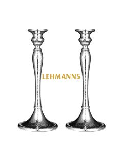 Candlesticks - Hammered Nickel -Silver Colour 26.7cm