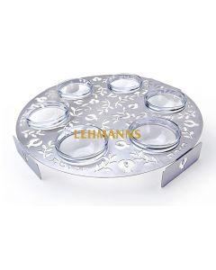 Dorit Judaica:Seder Plate - Stainless Steel with Laser Cut  Pomegranate Desig