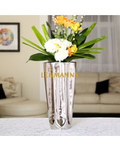 Vase- Stainless Steel with Rippled Design