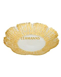 Dish-Scalloped with Gold Flower Design