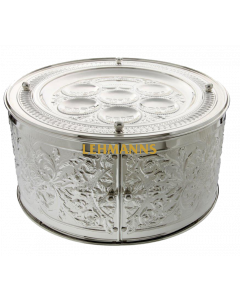 Seder plate 3 tier-Silver Plated-Floral Design-35.5x18cms