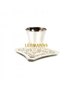 Kiddush Cup and Tray-Silver Plated -Jerusalem Matt Decoration