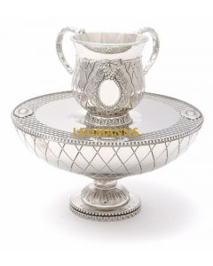 Art Judaica: Mayim Achronim Set - Pearl Design-Nickel
