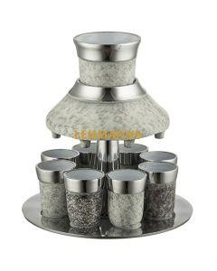 Art Judaica:Kiddush Wine Fountain Set -Anodized Aluminium-  Fresco Cream Effect