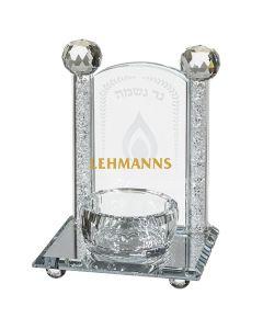 Art Judaica:Yahrzeit Candle Holder- Clear Crystal-Silver Stones