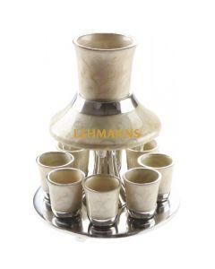Art Judaica: Kiddush Wine Fountain Set -Anodized Aluminium - Pearl