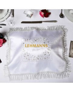 Art Judaica:Challah Cover - Satin-Silver-Floral Motif- Embroidered