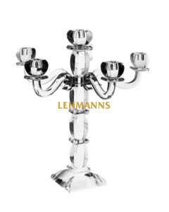 Candelabra -6 Branches-Ornate- Clear Crystal With Silver Decoration