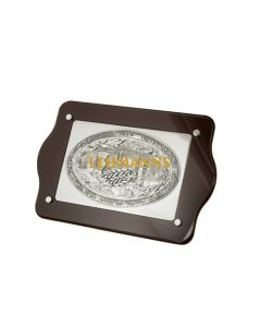 Challah Board-Dark Wood With Silver Coloured Metal Shabbat Images