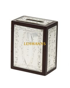 Tzedakah Box- Wood and Silver Plated