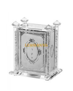 Tzedakah Box- Crystal With Crushed Glass- Flower Motif