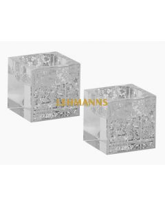 Candle Holders for Tealights-Crystal With Silver Floral Design