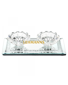 Candle Holder -Laser Cut Crystal -Glass Base with Crushed Glass Border