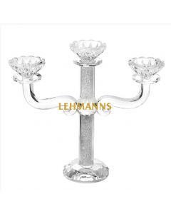 Candelabra-3 Branches-Clear Crystal With Crushed Glass  25.4cm
