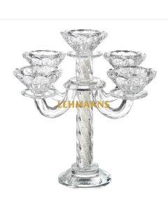 Candelabra-5 Branches -Crystal With Crushed Glass-Spiral Design 21.6cmm