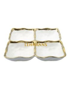 Dip Dish - 4 sections-White Porcelain With Gold Rim