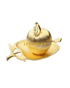 Gold Apple Shaped Dish with Removable Honey Jar