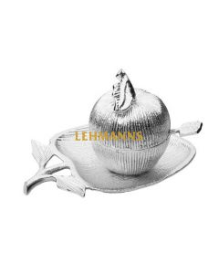 Silver Apple Shaped  Dish and Honey Jar