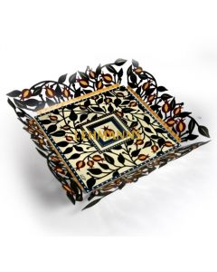 Dorit Judaica: Bowl - Laser Cut Metal - with Pomegranate and Leaves Design
