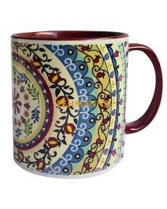 Dorit Judaica:Ceramic Decorative Mug-Mandala Pattern with Bordeaux Decoration