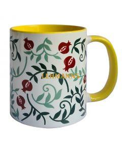 Dorit Judaica:Ceramic Decorative Mug-Pomegranate  Pattern with Yellow Decoration