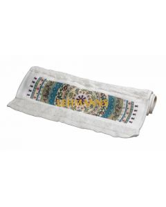 Dorit Judaica: Towel - Mandala Design-Beige /Turquoise