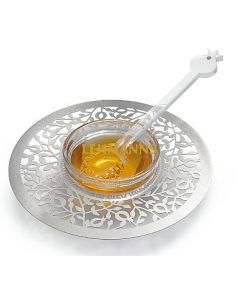 Dorit Judaica:Honey Dish -Stainless Steel & Glass-Small Pomegranate DCesign With New Year Blessings