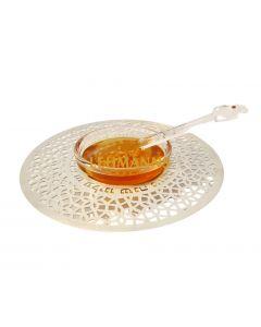 Dorit Judaica:Honey Dish -Stainless Steel & Glass-Mandala Design With New Year Blessings