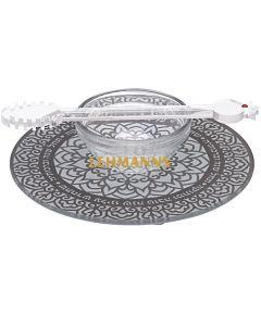 Dorit Judaica:Honey Dish -Glass & Acrylic-Grey Mandala Design With New Year Blessings