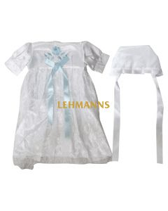 Art Judaica:Brit Milah Outfit With A Hat - Satin -Blue Ribbon- White Embroidery (