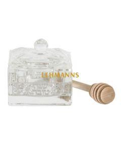 Art Judaica: Honey Dish-Crystal -Silver Shana Tova and Pomegranate Decoration