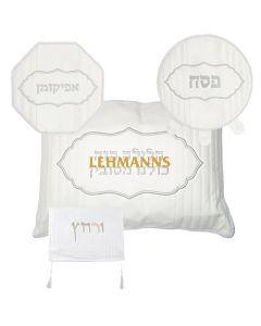 Art Judaica: Pesach Set-4 Pcs-Faux Leather- Pillow, Pesach & Afikoman Covers With Towel