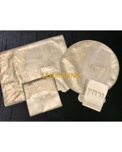 Pesach 4 Pc Set-Faux Leather-White & Gold-Ornate Design-Pillow, Pesach & Afikoman Covers With T