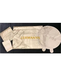 Pesach 4 Pc Set- Faux Leather-Cream & Silver-Royal Design-Pillow, Pesach & Afikoman Covers With Tow