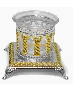 Salt Holder -Silver Plated With Gold Decoration-Royal Palace Design