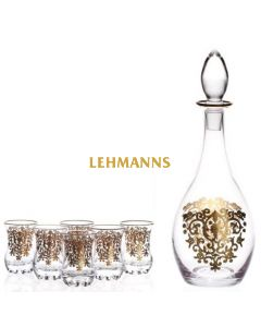 Crystal Decanter with  6 Kiddush Cups- Ornate Gold Decoration