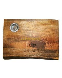 Yair Emanuel:Emanuel:Challah Board -Rectangular with Salt Dish- Natural Mango Woodl