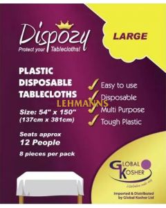 """Dispozy Clear Tablecloths Large Pack 54"""" X 150"""" Seats 12 - 8pk"""