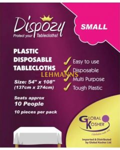 """Dispozy Clear Tablecloths Small Pack 54"""" X 108"""" Seats 10 - 10pk"""